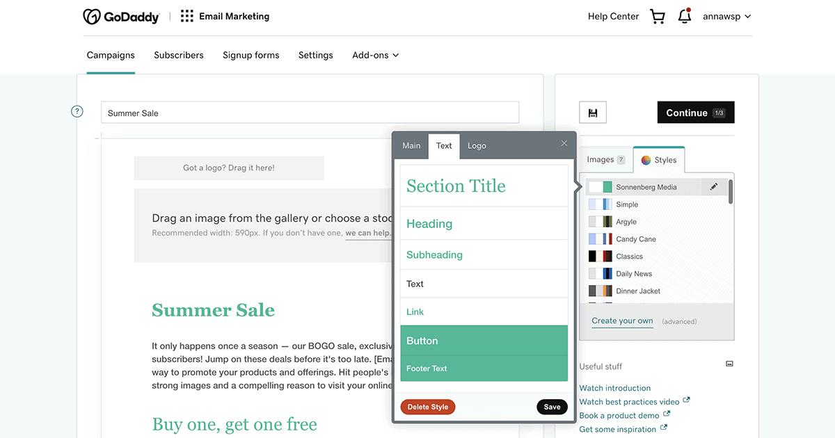 GoDaddy Email Marketing custom styles