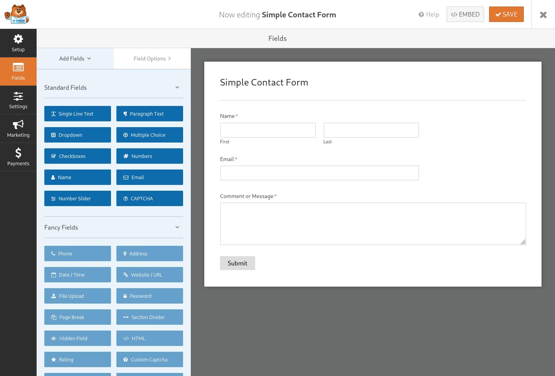 the WPForms plugin