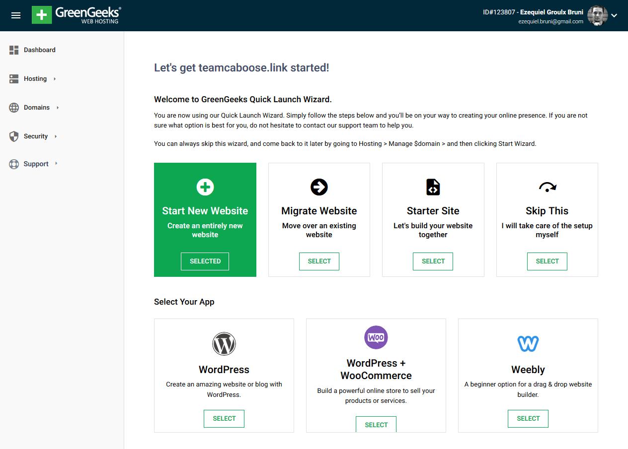 GreenGeek's site-starting wizard