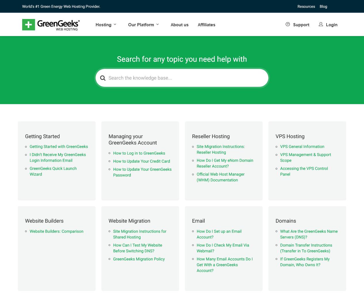 the GreenGeeks knowledge base