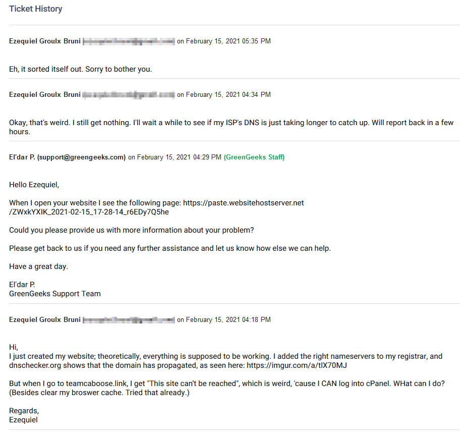 My email / ticket conversation with GreenGeeks