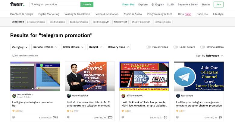 browse Telegram promotion gigs on Fiverr