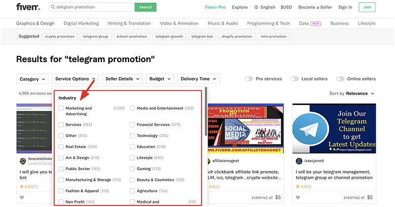 filter Telegram marketing gigs by industry