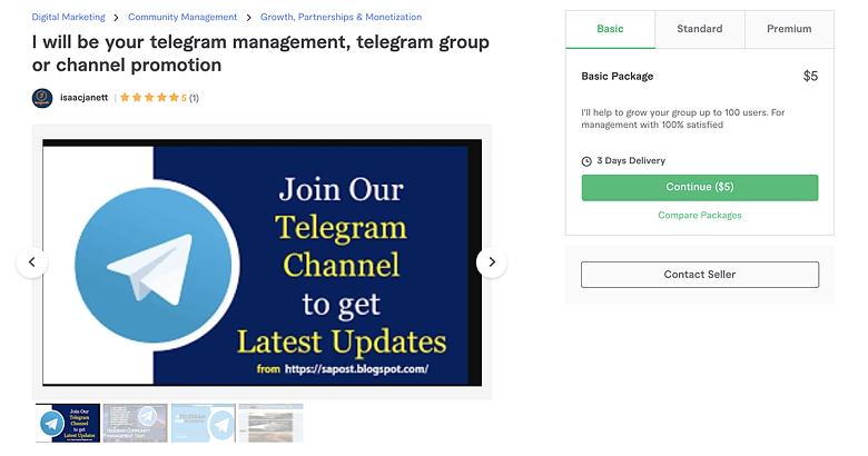 Telegram promotion gig on Fiverr