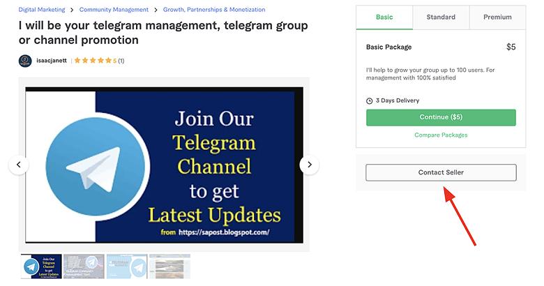 contact Telegram marketers on Fiverr