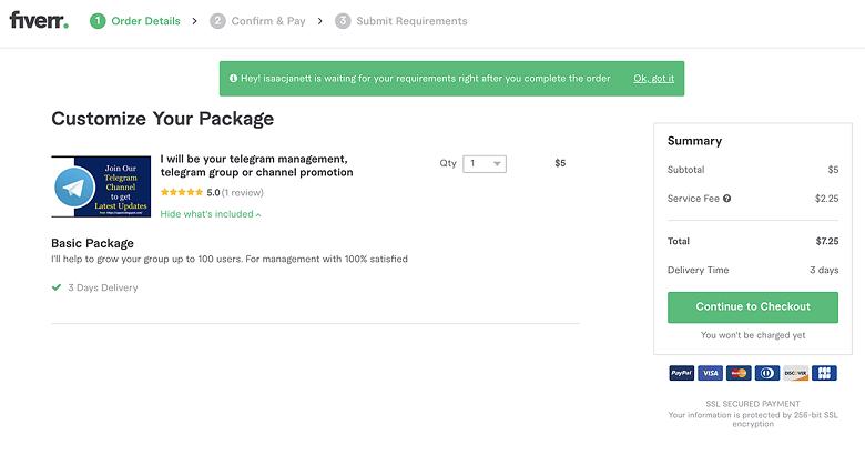 hire a Telegram promotion service on Fiverr