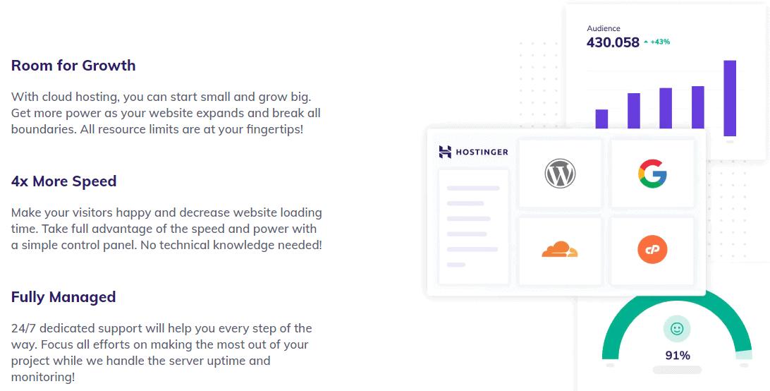 Feature list for Hostinger's Cloud hosting