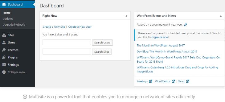 Screenshot of Hostinger's WordPress Multisite feature