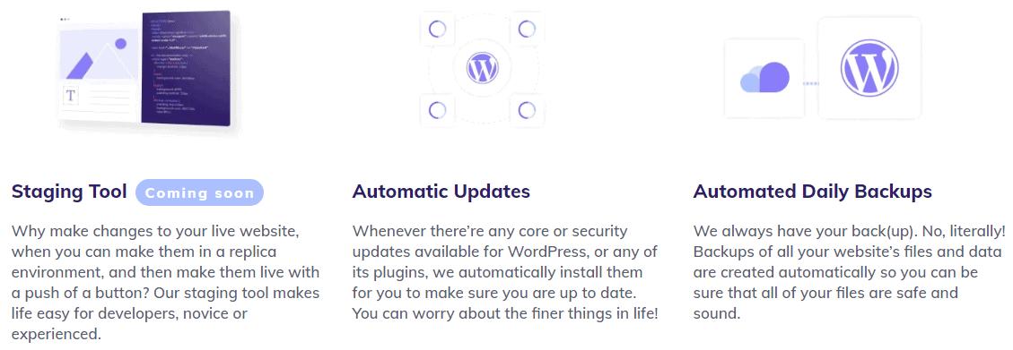 Description of Hostinger's WordPress management features