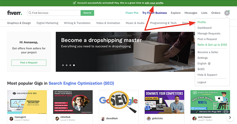 create a business plan seller profile on Fiverr