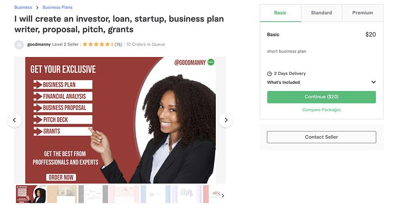 business plan writer gig on Fiverr