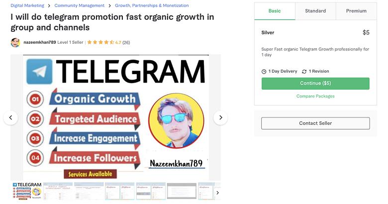 Telegram promotion service on Fiverr - Nazeemkhan789