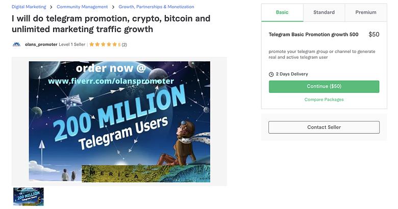 Telegram promotion service on Fiverr - Olans_Promoter