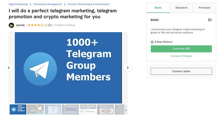 Telegram promotion service on Fiverr - Syccoly