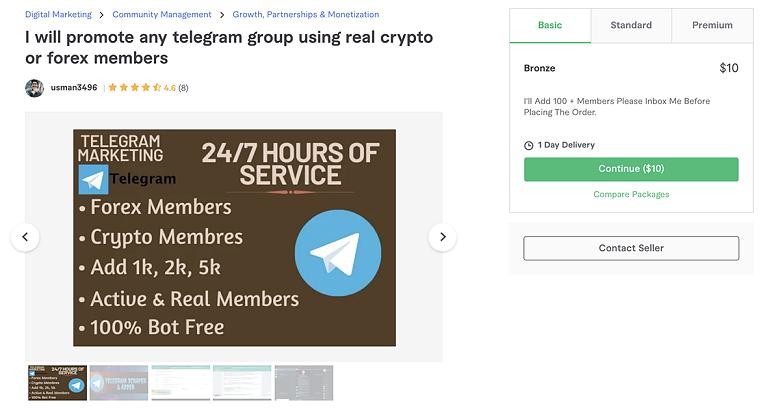 Telegram promotion service on Fiverr - Usman3496
