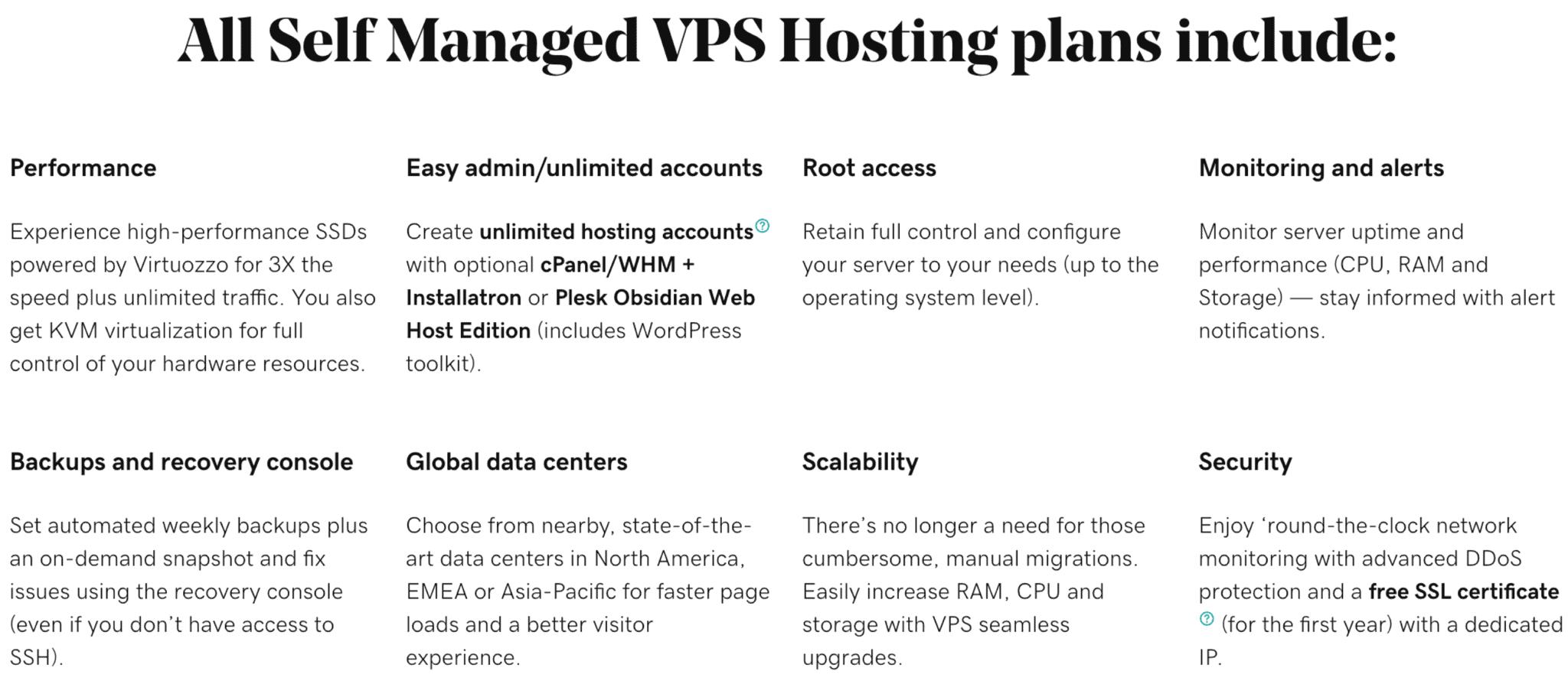 Details of GoDaddy's VPS hosting plans