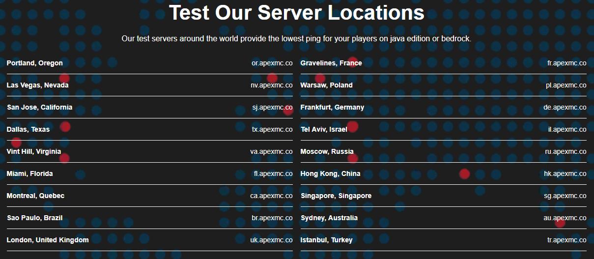 List of Apex Hosting's Data Centers for Minecraft Hosting