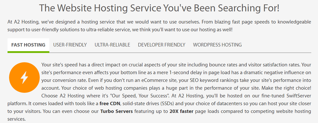 Screen capture of A2 Hosting feature details