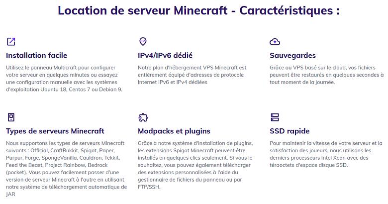 Hostinger Minecraft Hosting Feature List