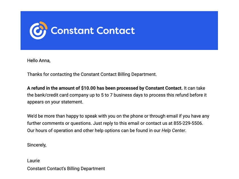 Constant Contact refund