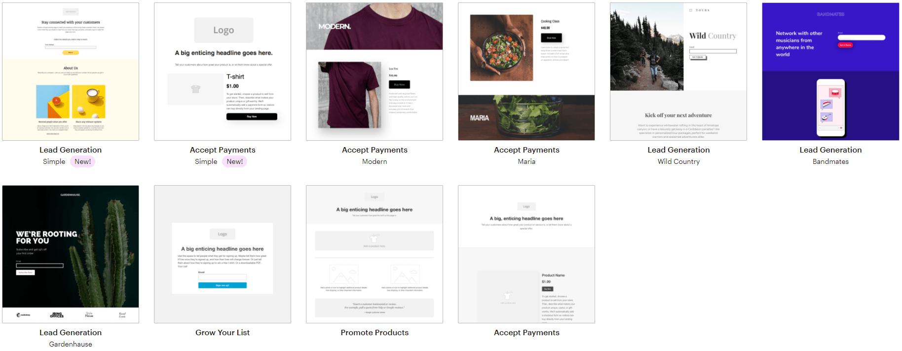 mailchimp's-landing-page-templates