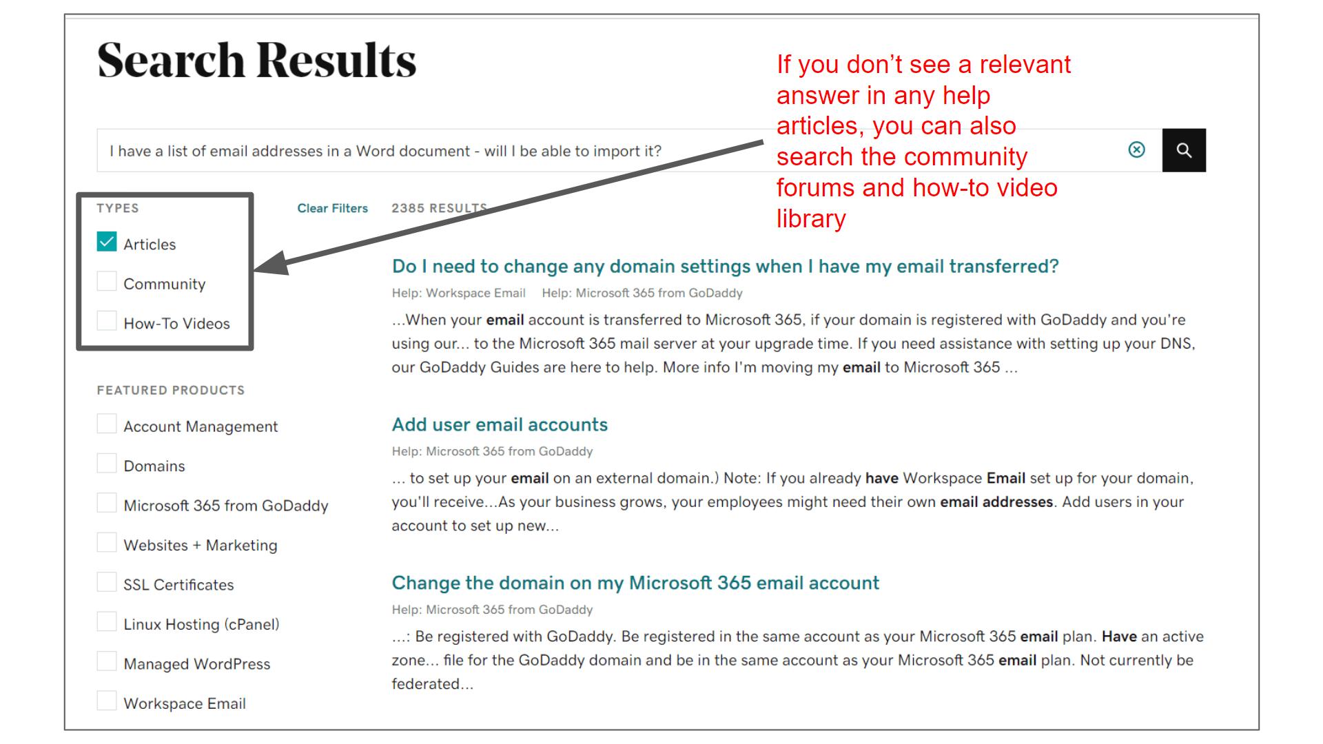 godaddy-help-centre-no-relevant-results