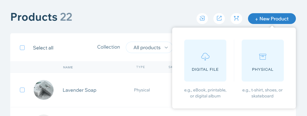 Wix digital or physical product