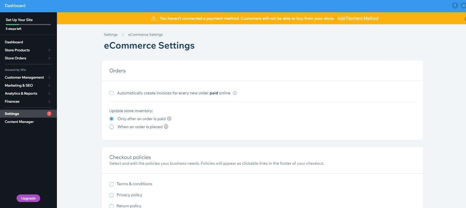 Wix store settings