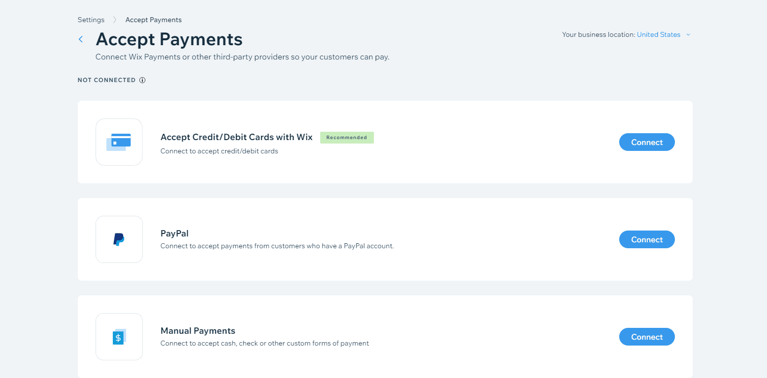 Wix connect a payment method