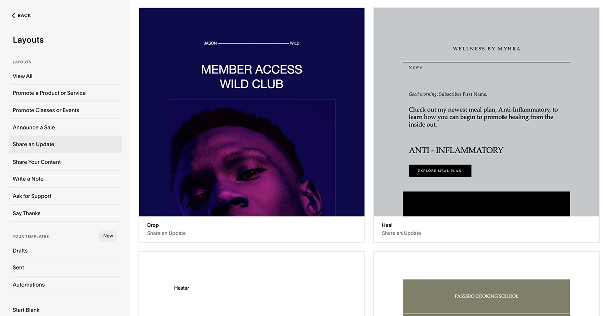 Squarespace Email Campaigns templates