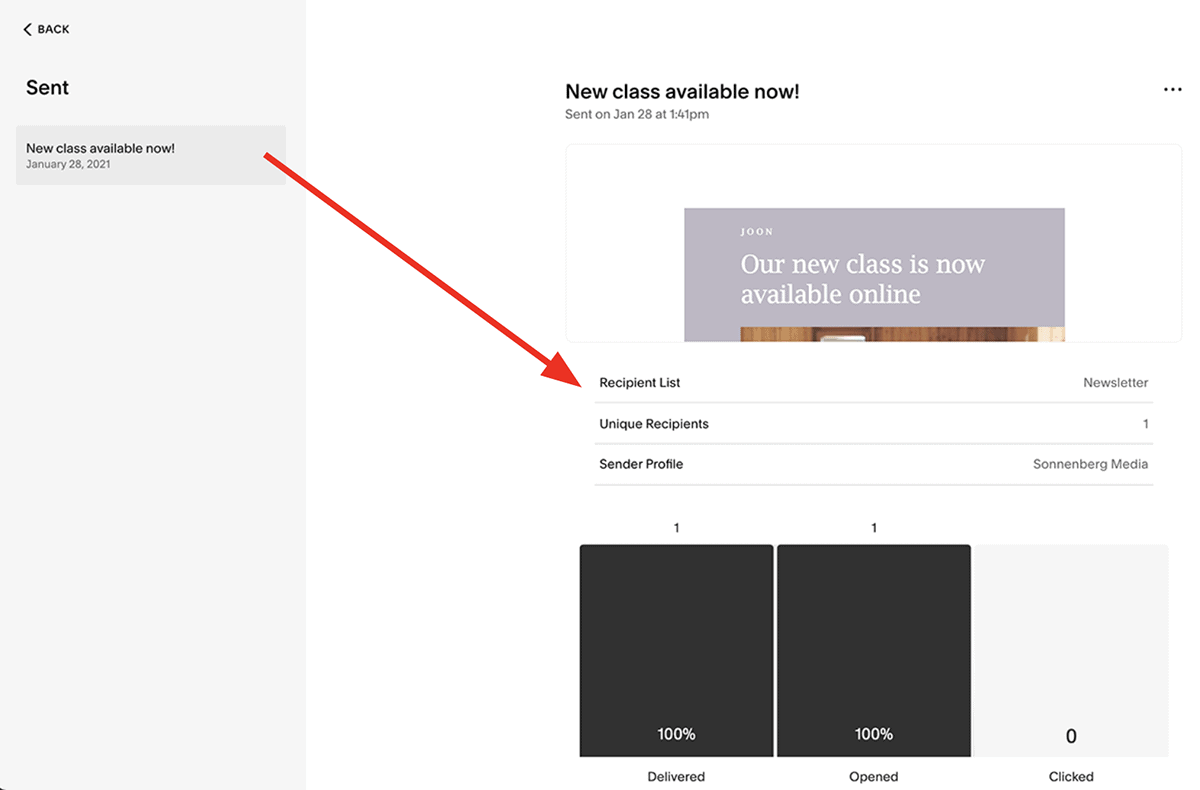 Squarespace Email Campaigns analytics