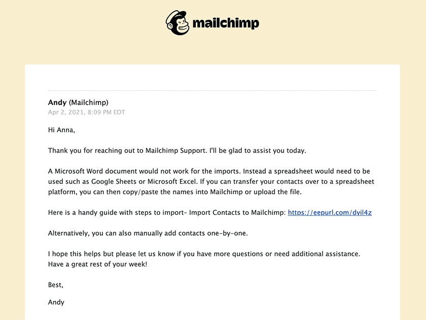Mailchimp email support