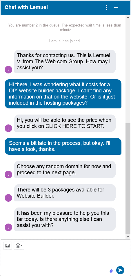 Network Solutions live chat support