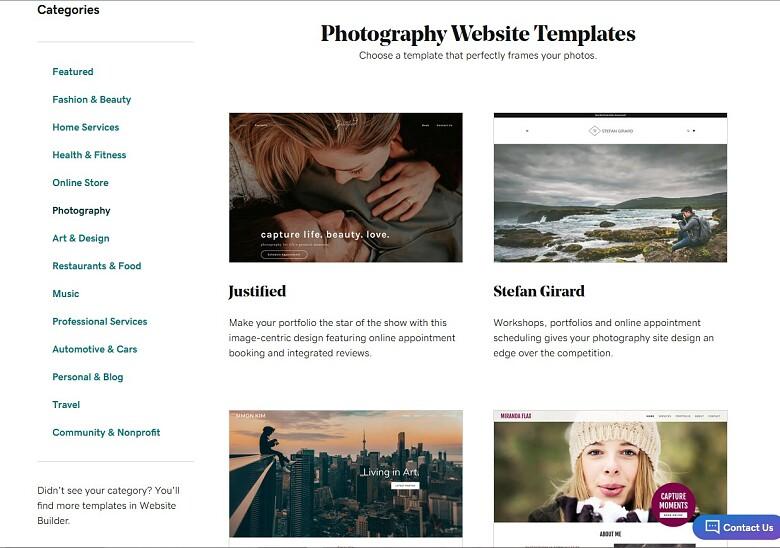 GoDaddy Website Builder photography templates