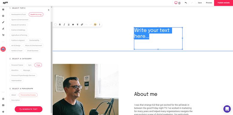 Zyro AI text writer