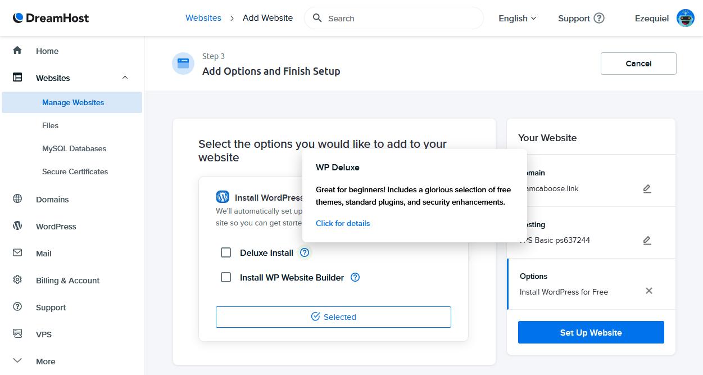 Screen capture of the DreamHost WordPress installer