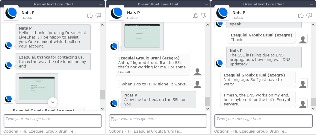 My second chat with DreamHost support