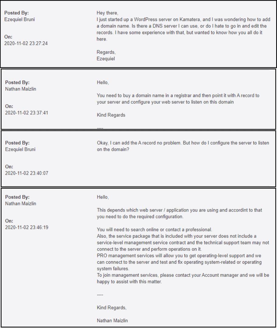 Screenshot of a Kamatera support interaction