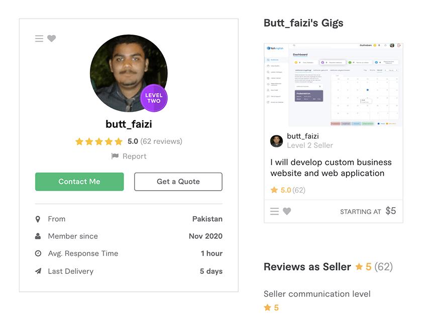 Butt_Faizi - web developer on Fiverr