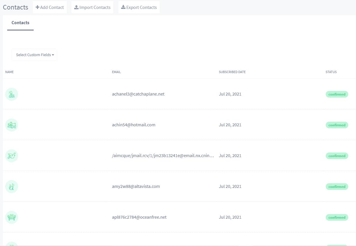 SendX spam contacts list
